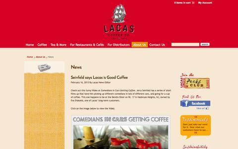 Screenshot of Press Page lacascoffee.com - News - Lacas Coffee Co. - Lacas Coffee Co. - captured Oct. 1, 2014