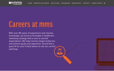 Screenshot of Jobs Page mmslists.com - Careers - Medical Marketing Service, Inc. - captured July 14, 2019
