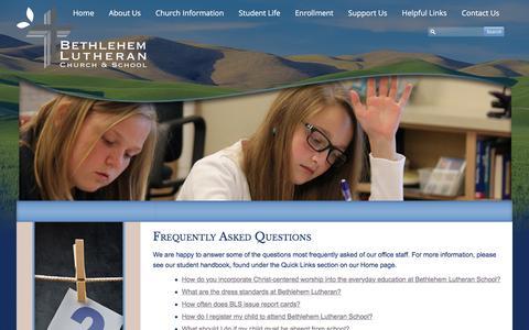 Screenshot of FAQ Page blcbls.org - FAQ - Bethlehem Lutheran School (Bethlehem Lutheran School) - captured Feb. 7, 2016