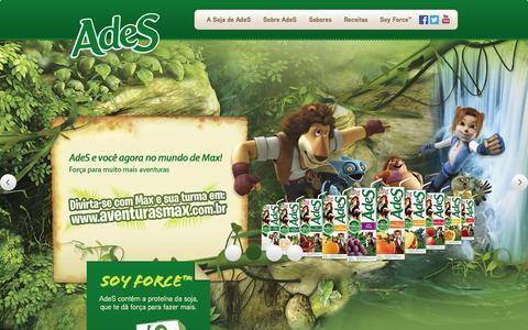 Screenshot of Home Page ades.com.br - AdeS - O melhor da Soja em Suco, Shake, Frapê e Vitamina - captured Sept. 22, 2014