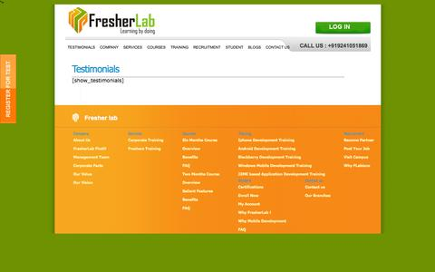 Screenshot of Testimonials Page fresherlab.com - Testimonials | Corporate Training, Java training, I Phone, Mobile Application, Mobile Application Development,  from Fresherlab - captured Sept. 30, 2014