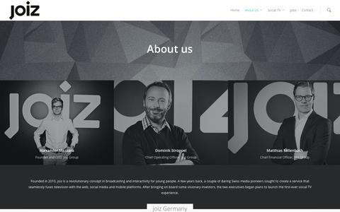 Screenshot of About Page joiz.com - About us |  The new world of Social TV - captured Oct. 29, 2014