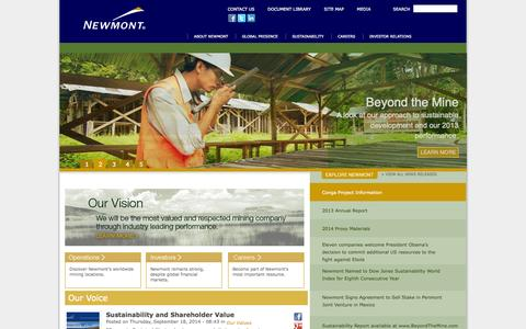 Screenshot of Home Page newmont.com - Newmont Mining | Newmont Mining Corporation - captured Sept. 22, 2014