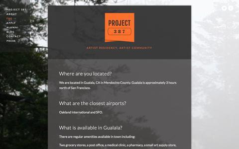 Screenshot of FAQ Page project387.com - FAQ — PROJECT 387 - captured Sept. 30, 2014