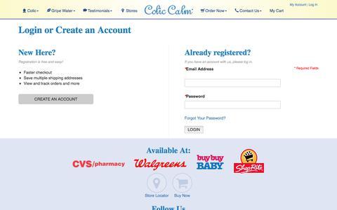 Screenshot of Login Page coliccalm.com - Customer Login - captured Sept. 23, 2018