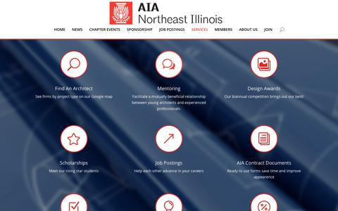 Screenshot of Services Page aianei.org - Services | AIA Northeast Illinois - captured Dec. 17, 2018
