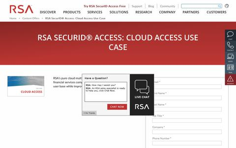 Screenshot of Case Studies Page rsa.com - RSA SecurID® Access: Cloud Access Use Case - captured Dec. 12, 2019