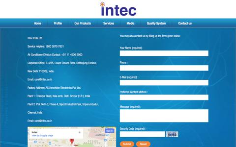 Screenshot of Contact Page intec.co.in - Contact Us - captured Sept. 18, 2014