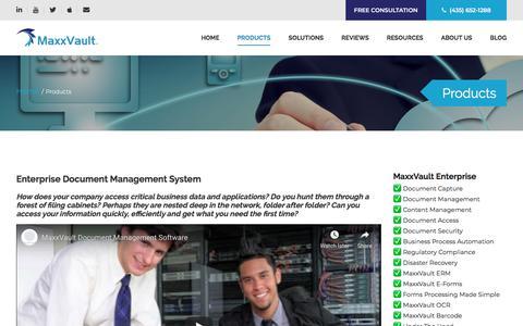 Screenshot of Products Page maxxvault.com - Enterprise Document Management System | MaxxVault - captured July 13, 2019