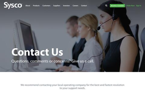 Screenshot of Contact Page sysco.com - Contact Us - captured July 2, 2018