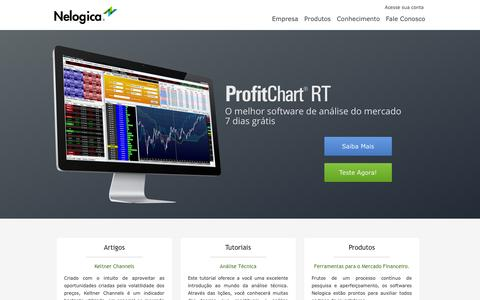 Screenshot of Home Page Menu Page nelogica.com.br - Nelogica - Tecnologia e Informação para o Mercado Financeiro - captured Sept. 19, 2014