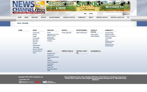 Screenshot of Site Map Page kionrightnow.com - Site Map | Central Coast News KION/KCBA - captured Sept. 23, 2014
