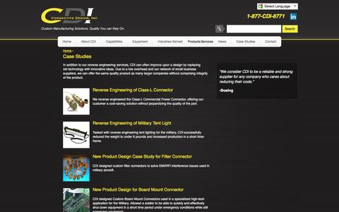 Screenshot of Case Studies Page connectivedesign.com - Case Studies | Reverse Engineering, Class-L Connector, Class-L Commercial Power Connector, Military Tent Lights, New Product Design, EMI/RFI Filter Connector, Custom Board Mount Connector - captured Oct. 8, 2016