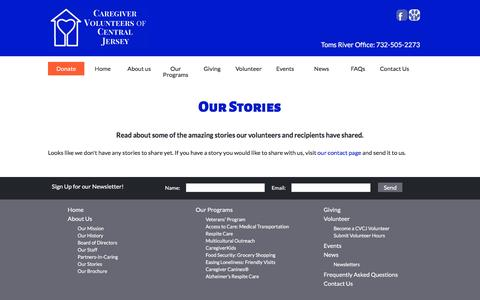 Screenshot of Testimonials Page caregivervolunteers.org - Testimonials - Caregiver Volunteers of Central Jersey - captured Jan. 25, 2016
