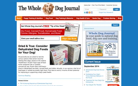 Screenshot of Home Page whole-dog-journal.com - Whole Dog Journal - captured Sept. 19, 2014