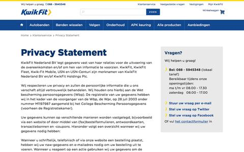 Screenshot of Privacy Page kwik-fit.nl - Privacy Statement - captured Oct. 29, 2014