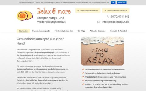 Screenshot of Home Page relax-institut.de - Claudia Gebhard - Entspannungs- und Weiterbildungsinstitut Relax & More - captured June 15, 2018