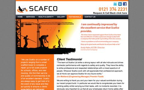 Screenshot of Testimonials Page scafcoaccess.co.uk - Testimonials | Scafco | Complete Scaffolding SolutionsScafco | Complete Scaffolding Solutions - captured Oct. 4, 2014