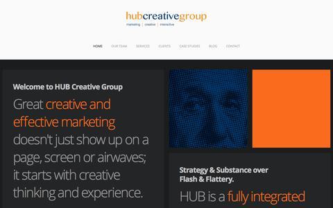 Screenshot of Home Page hubcreativegroup.com - Hub Creative Group - Chatham, Ontario - captured Sept. 30, 2014