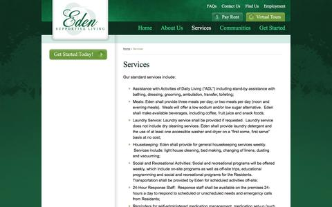 Screenshot of Services Page edenslf.com - Eden Supportive Living - Services - captured Oct. 26, 2016