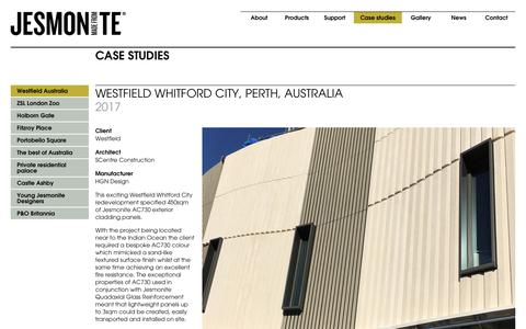 Screenshot of Case Studies Page jesmonite.com - Westfield Australia - Jesmonite - captured Oct. 13, 2018
