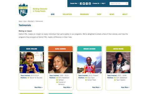 Screenshot of Testimonials Page detroitpal.org - Detroit PAL - Building Character in Young People - captured Sept. 30, 2014