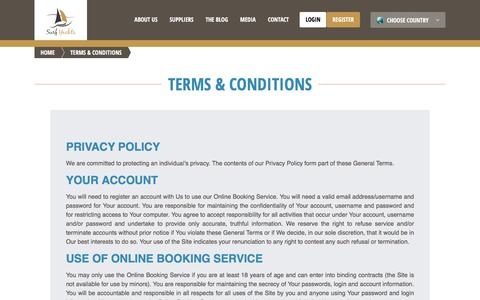 Screenshot of Terms Page surfyachts.com - Terms & Conditions | Surf Yachts - captured Jan. 12, 2016