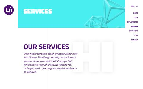 Screenshot of Services Page ui.co.il - SERVICES - UI - captured Oct. 1, 2018