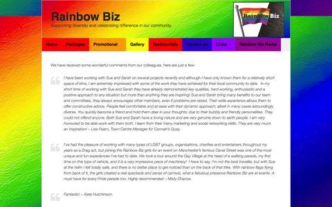 Screenshot of Testimonials Page rainbowbiz.co.uk - Testimonials | Rainbow Biz - captured Sept. 30, 2014
