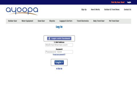Screenshot of Login Page ayoopa.com - Member Login | Ayoopa - captured Sept. 30, 2014