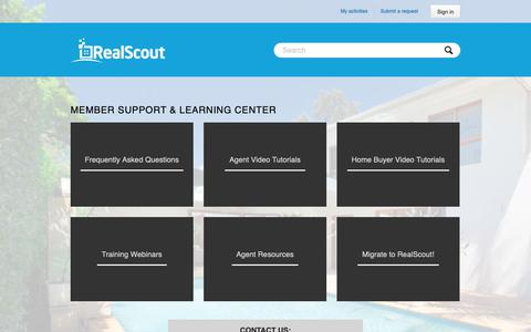Screenshot of Support Page realscout.com - Member Support & Learning Center - captured Nov. 3, 2018