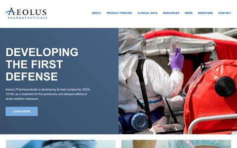 Screenshot of About Page aolsrx.com - Aeolus Pharmaceuticals (AOLS) - captured Sept. 10, 2014