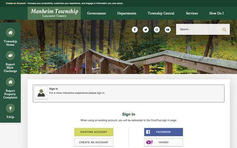 Screenshot of Login Page manheimtownship.org - Manheim Township, PA - Official Website - captured Oct. 2, 2018