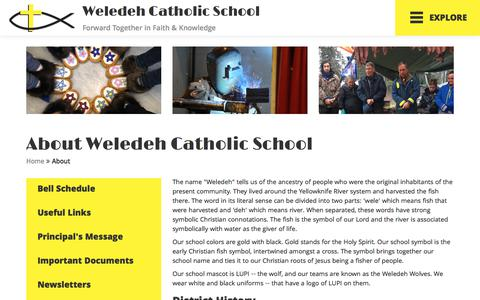Screenshot of About Page weledeh.nt.ca - About | Yellowknife Catholic Schools - captured Feb. 25, 2018