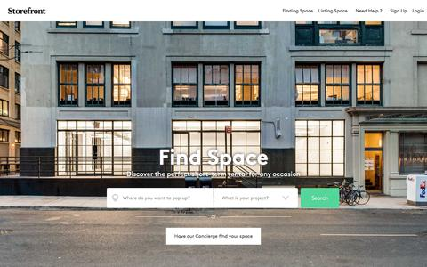 Screenshot of Home Page thestorefront.com - Storefront | +10,000 pop-up shops, showrooms, event venues to rent - captured July 12, 2018