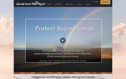 Screenshot of Home Page sacredland.org - Sacred Land – Indigenous worldviews, values and sacred places strengthen the earth's biological and cultural diversity - captured Dec. 17, 2018