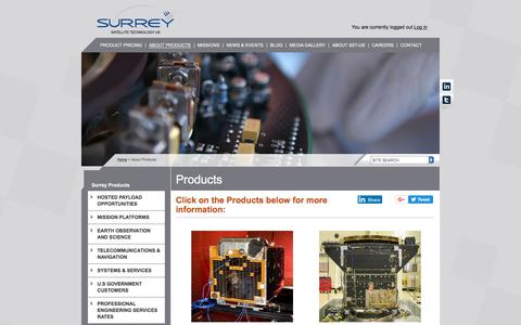 Screenshot of Products Page sst-us.com - Satellite Platforms, Subsystems & Payloads | Surrey Satellite Technology US LLC (SST-US) - captured Oct. 25, 2017