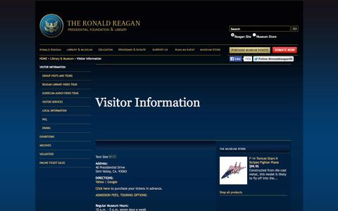Screenshot of Pricing Page reaganfoundation.org - REAGANLIBRARY.COM | VISITOR INFORMATION - captured Sept. 23, 2014