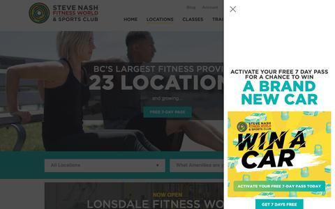 Screenshot of Locations Page snclubs.com - Steve Nash Fitness World & Sports Club Gym Locations   Steve Nash Fitness World and Sports Club - captured Sept. 28, 2018