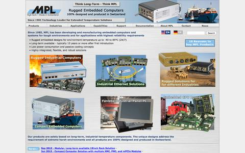 Screenshot of Home Page mpl.ch - Embedded Industrial Computers PCs for rugged environment and extended temperature range - MPL AG Switzerland - captured Sept. 4, 2015