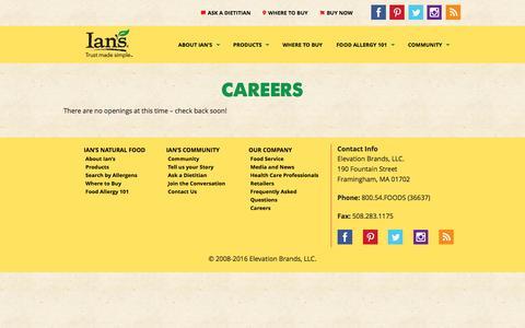 Screenshot of Jobs Page iansnaturalfoods.com - Careers | Ian's Natural Foods | Allergy Friendly Foods - captured Aug. 5, 2016