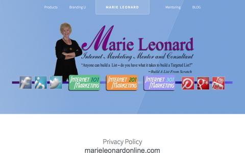 Screenshot of Privacy Page marieleonardonline.com - Thank You! Your Mesage has been sent. - captured May 28, 2017