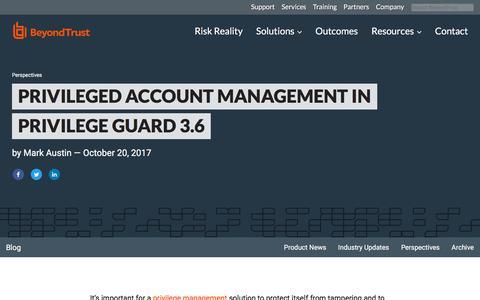 Screenshot of Team Page beyondtrust.com - Privileged Account Management in Privilege Guard 3.6 | BeyondTrust - captured Jan. 3, 2020
