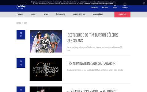 Screenshot of Press Page ugc.fr - NEWS UGC - captured Dec. 14, 2018