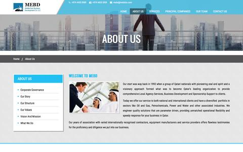 Screenshot of About Page mebdco.com - MEBD Qatar | Local Agency Services - captured Feb. 13, 2016