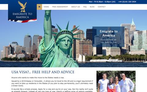 Screenshot of Home Page emigrate-to-america.co.uk - Emigrate To America - captured Sept. 12, 2015