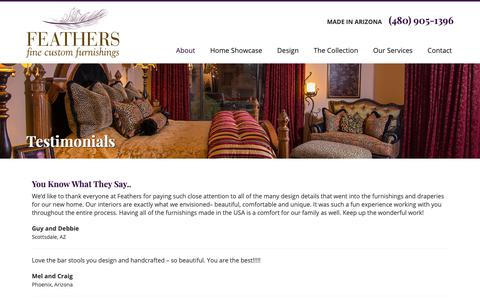 Screenshot of Testimonials Page feathersdesign.com - Feather's Custom Furnishings - captured Oct. 10, 2018