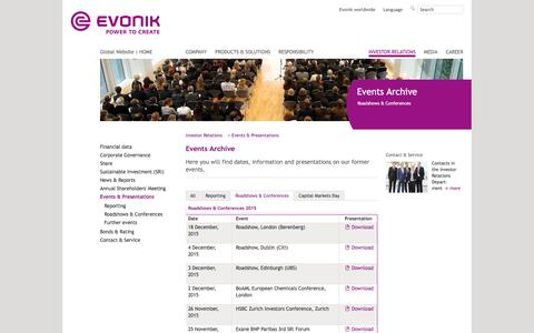 Roadshows & Conferences - Evonik Industries - Specialty Chemicals