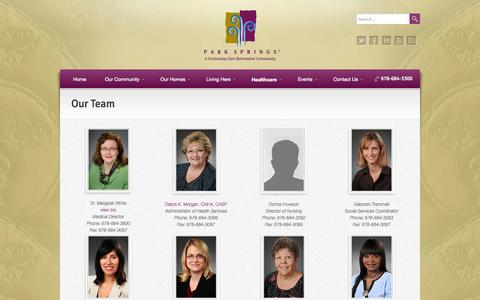 Screenshot of Team Page parksprings.com - Our Team - Park Springs - A Continuing Care Retirement Community - captured Oct. 1, 2014