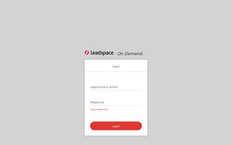 Screenshot of Login Page leadspace.com - Login - captured Aug. 20, 2019